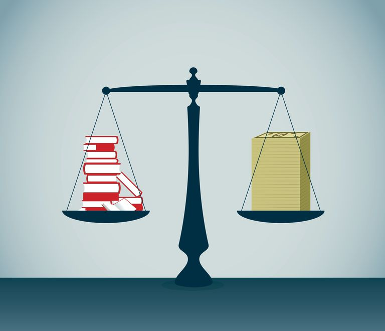 Legal scale weighing school books and money.