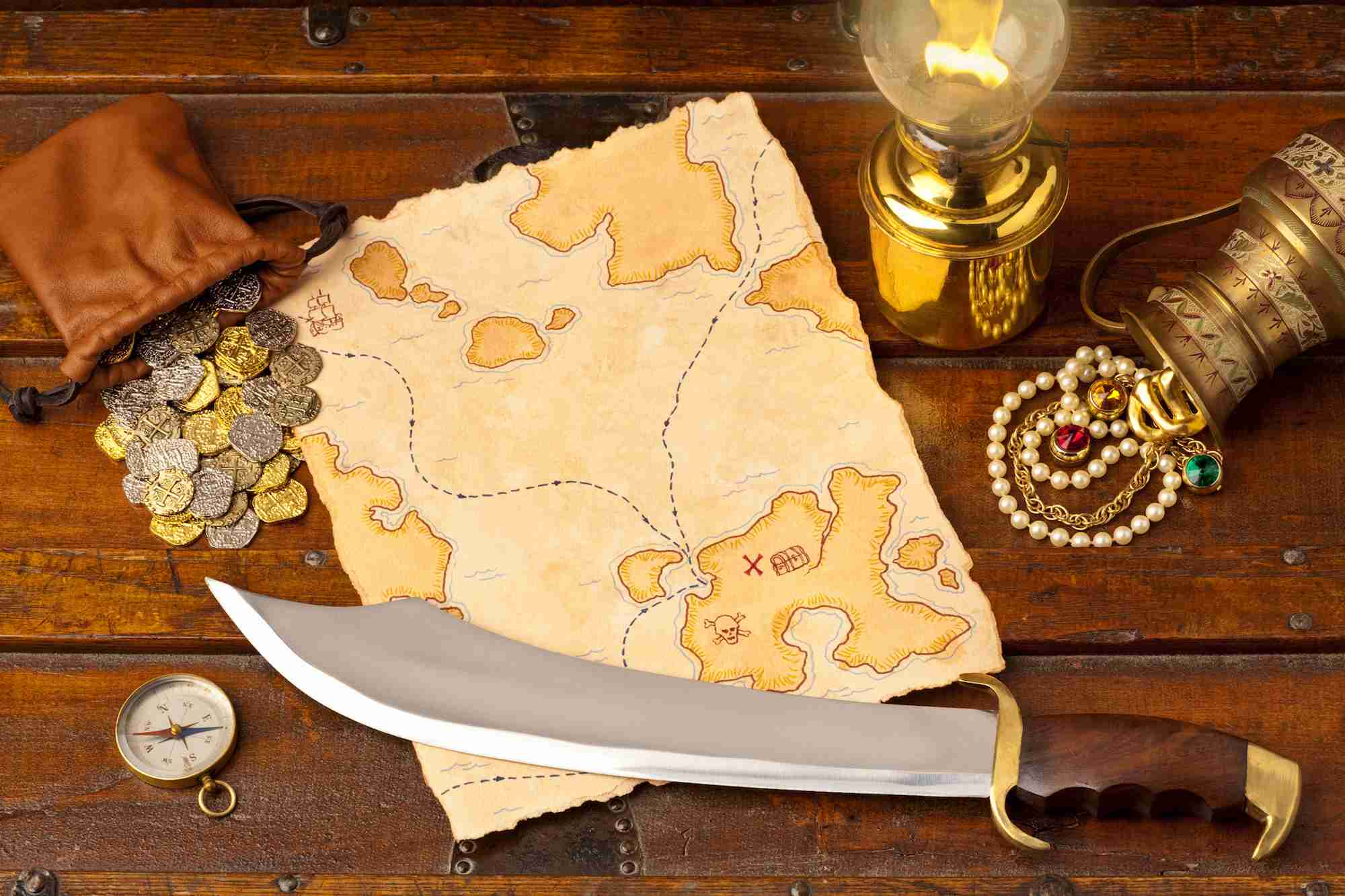 Treasure map and short sword. Full Frame. XXXL