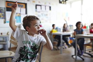 Boy with raised hand in classroom