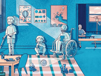 drawing of kids with disabilities wearing masks