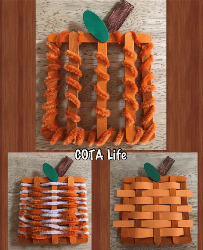 3 popsicle stick pumpkin crafts