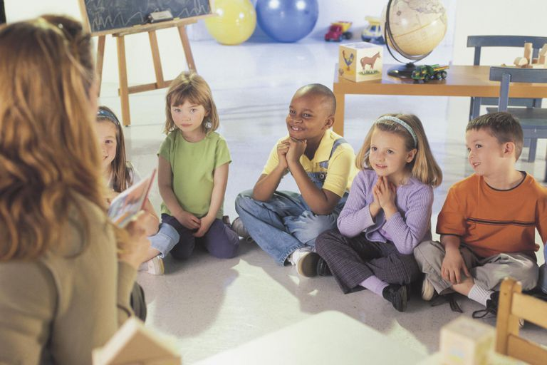 Woman speaking to children in classroom