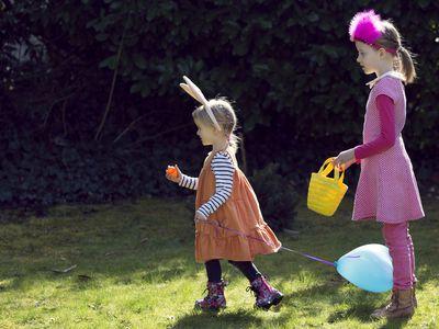 Two children on Easter egg hunt