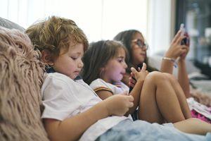 Preschooler using educational app