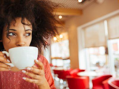 Drinking coffee, tea, or hot chocolate with caffeine