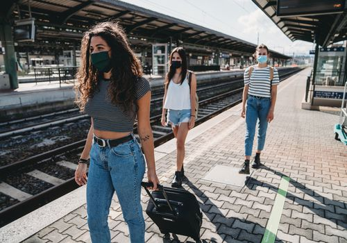 three college women traveling