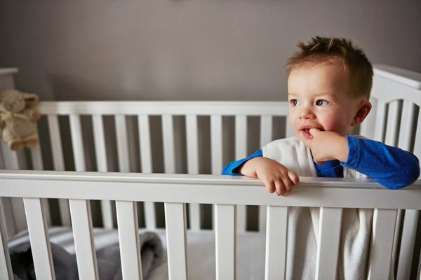 toddler awake in crib