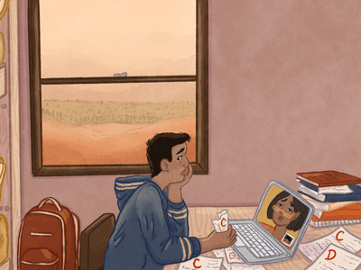 Illustration of a college student at a computer surrounded by papers graded with Cs and Ds