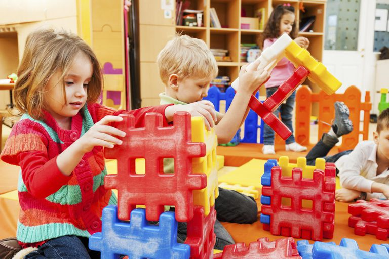 Children stacking blocks