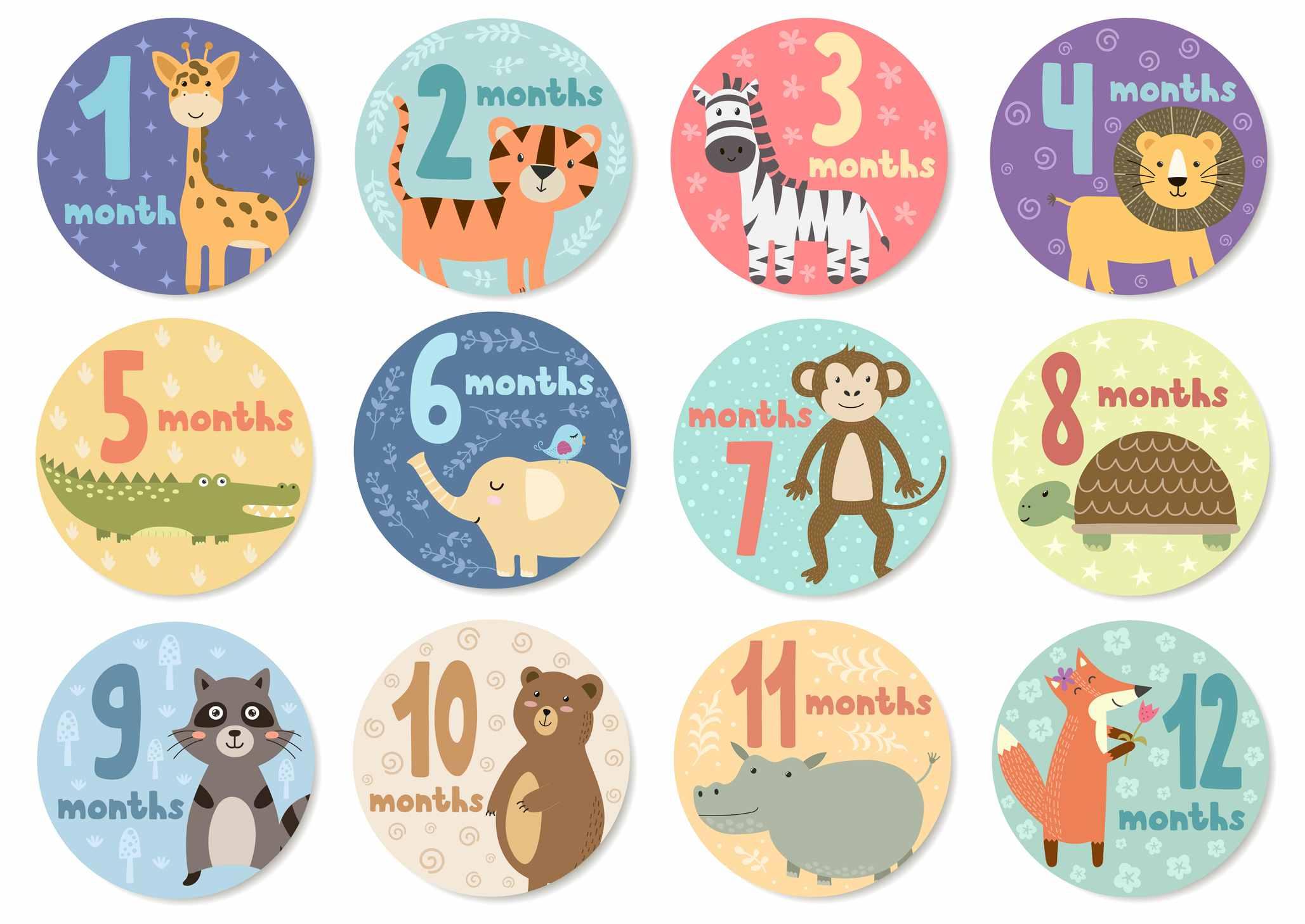Netter 12 Monate Aufkleber mit Tieren für Babys