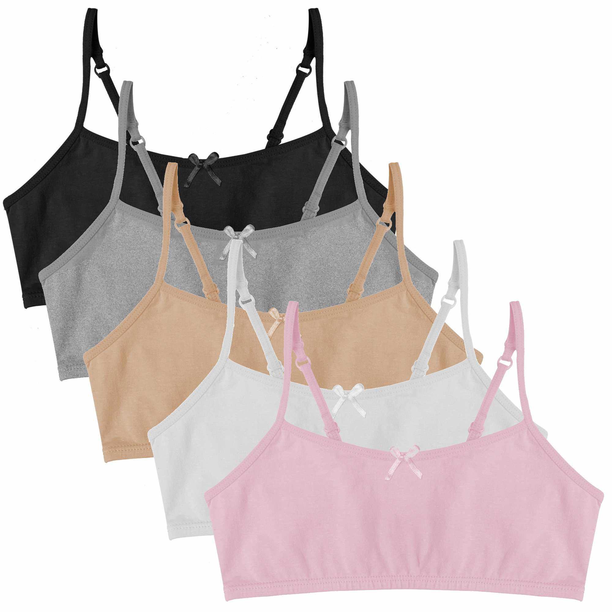 Popular Girls Cotton Crop Bra with Adjustable Straps 5-Pack