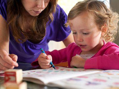 Pre School Girl learning.