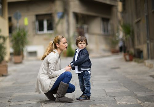 woman talking to child