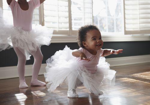 Baby girl dancing in a tutu