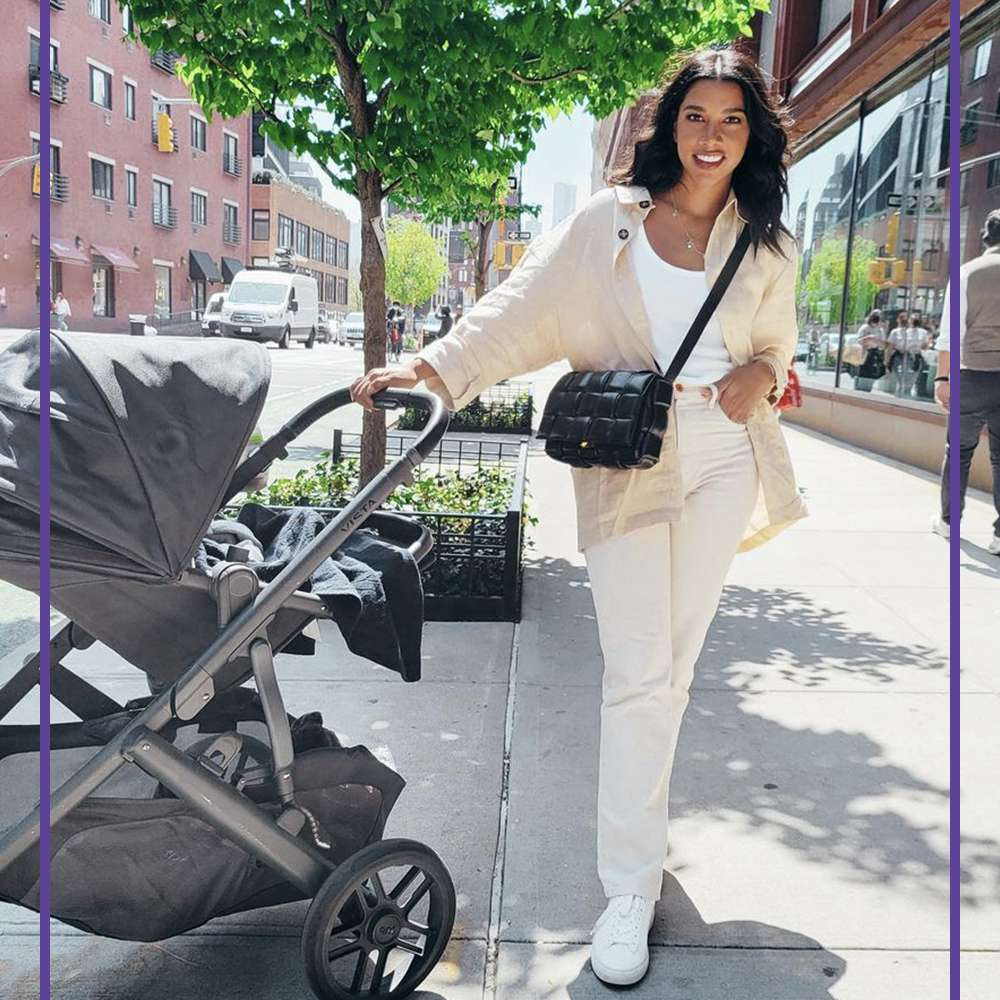 Hannah Bronfman and stroller
