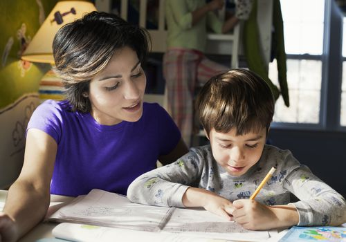 parent helping with homework