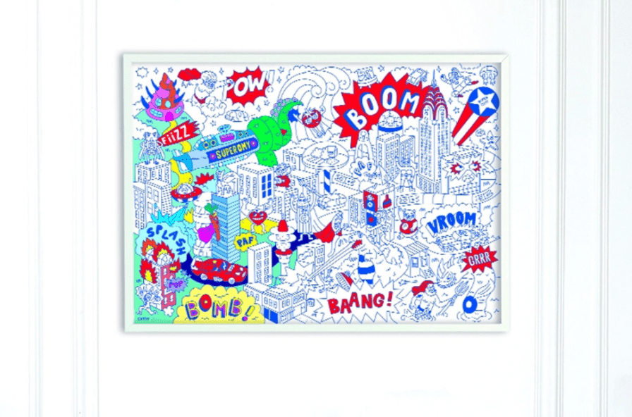 OMY Design & Play Super Hero Coloring Poster
