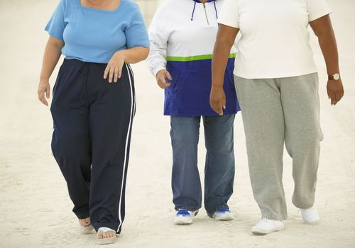 Group of three overweight people walking
