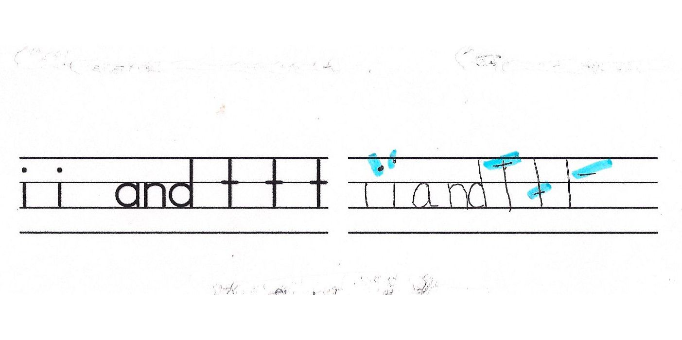 image of how to correct dotted Is and crossed Ts