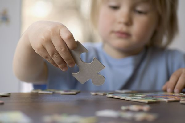 Toddler doing a puzzle