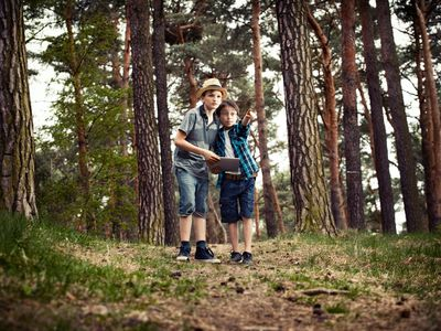 Boys with digital tablet in forest.