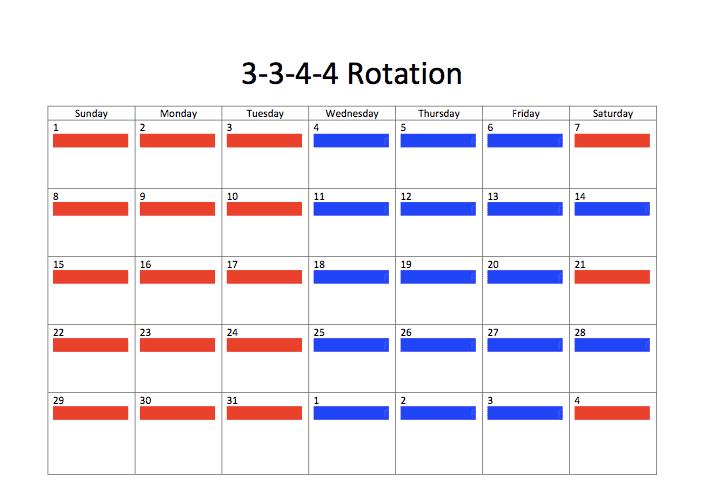 3-3-4-4 rotation joint custody schedule