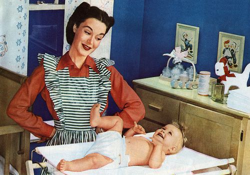 vintage photo of mom and baby