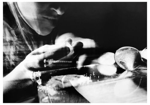 Double Exposure Of Woman With Syringe And Drug On Table
