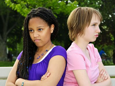 two girls upset