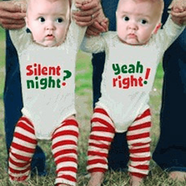 Just Multiples Silent Night Yeah Right Twins Onesies - Twin Christmas Outfits - Holiday Clothing For Twins
