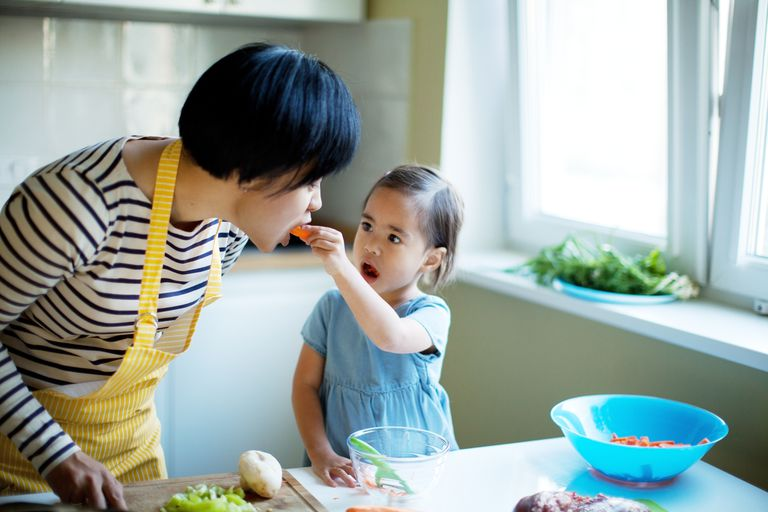 Mom and daughter cooking together