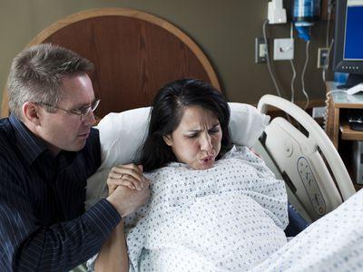 Woman having labor pains