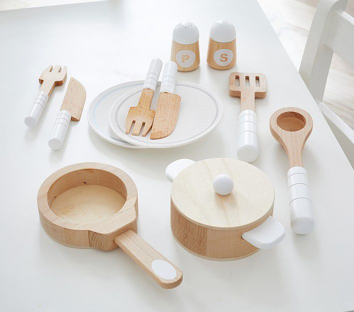 Pottery Barn Kids Wooden Cooking & Eating Set