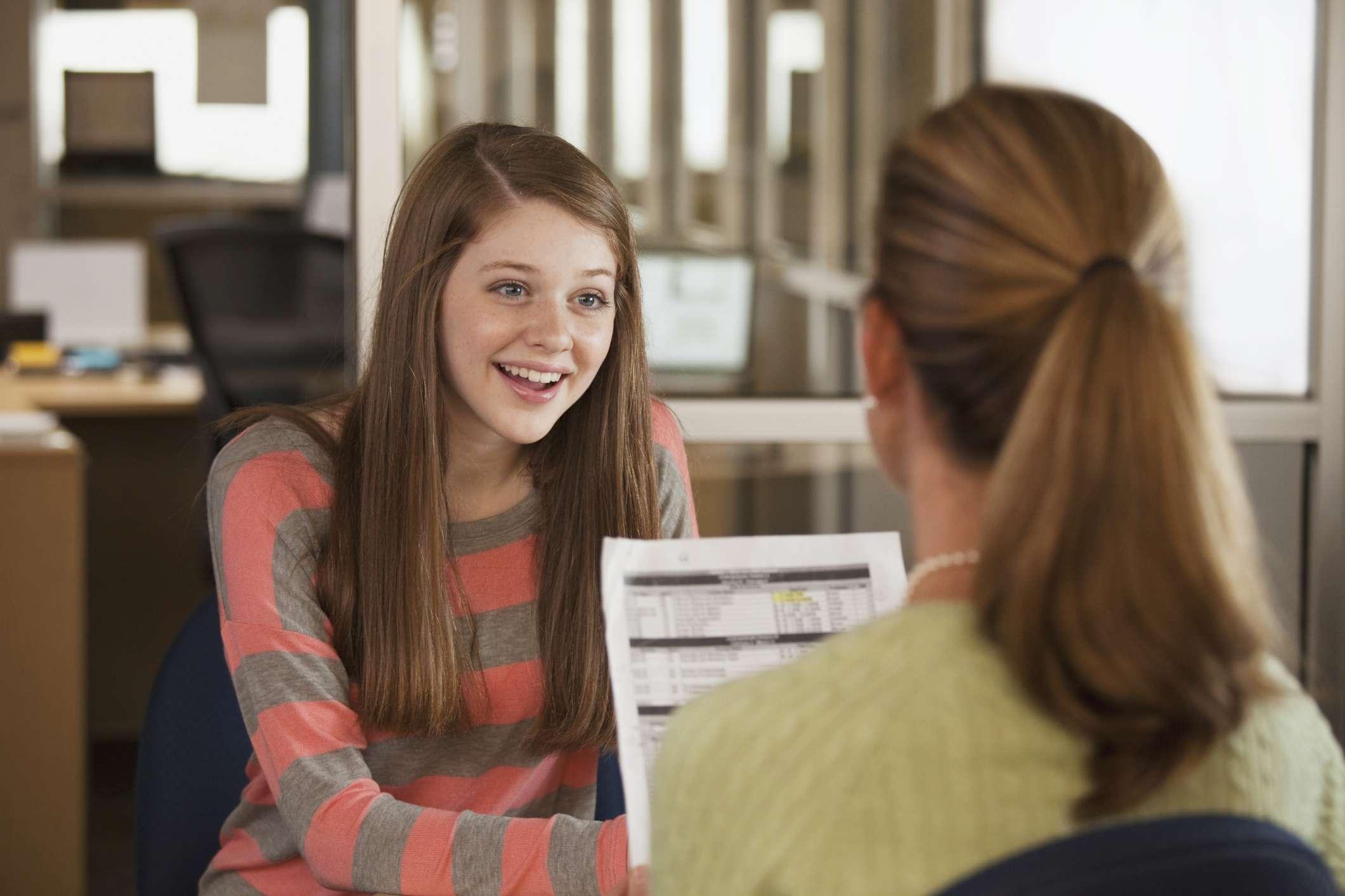teen in office
