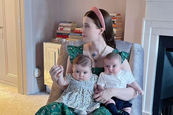 Hill House Home founder Nell Diamond in the Ellie Nap Dress, with her infant twins.