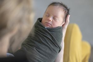 Sleeping swaddled infant