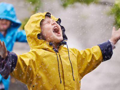 Rainy day outdoor activities - kids in raincoats