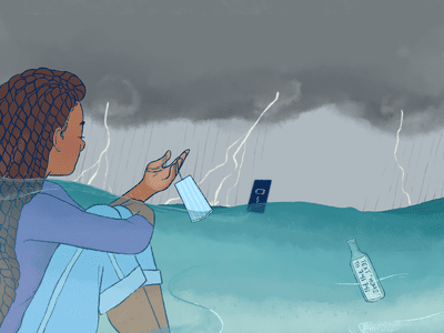 Teen in front of a cloudy sky