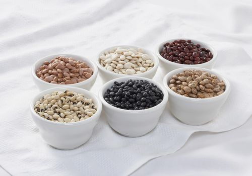 Bowls of assorted dried beans
