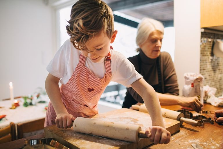 Child kneading dough