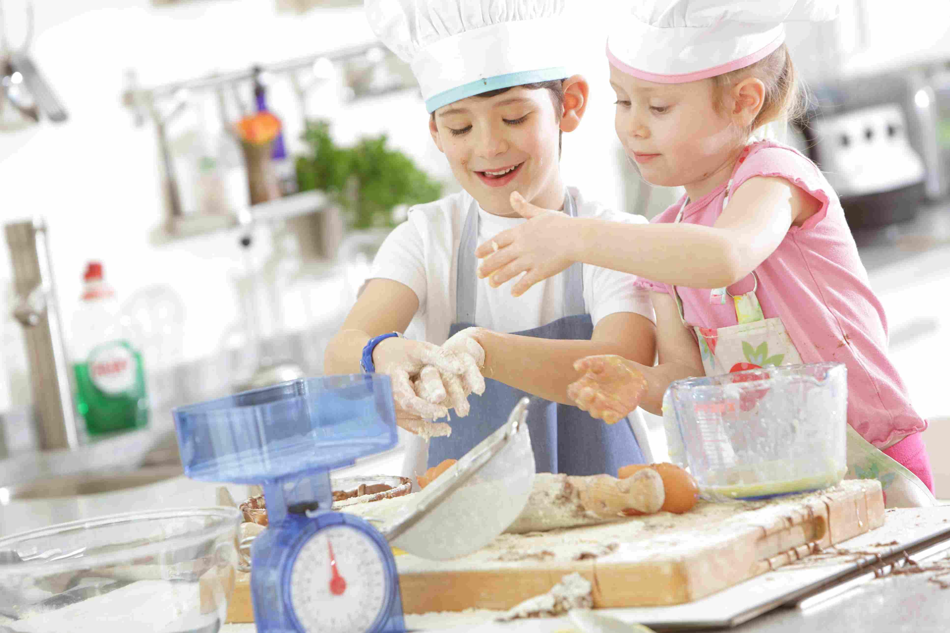 pretend play ideas - kids baking in kitchen