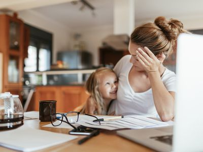 A woman working from home wants help with childcare.