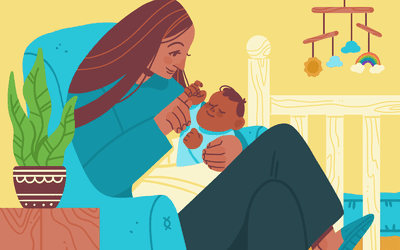 illustration of mother with baby