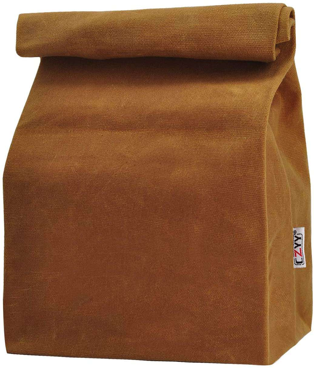Waxed Canvas Lunch Bags Brown Paper Bag Styled