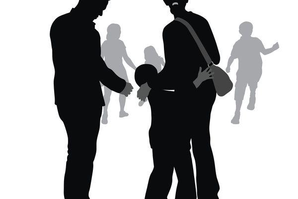 illustration of child clinging to Mom