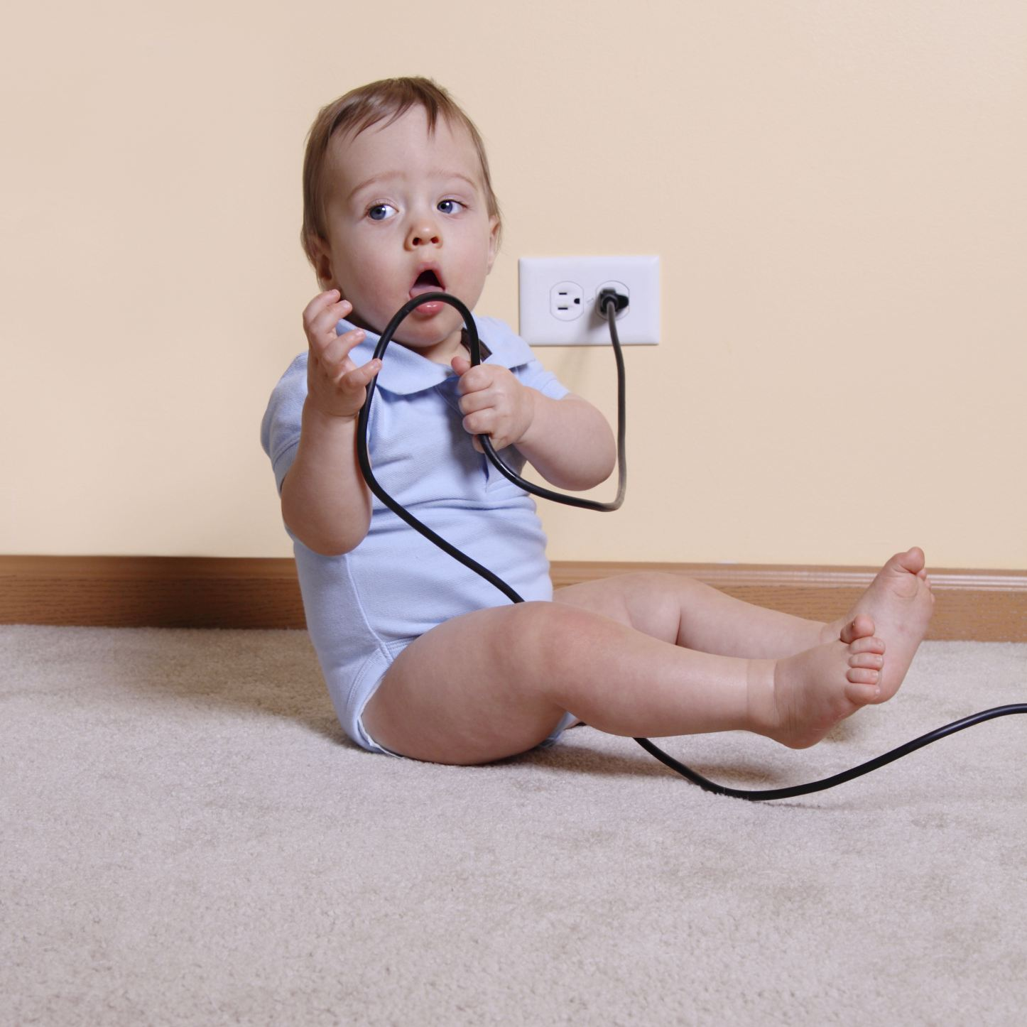 Childproofing fail: Baby playing with electrical wire