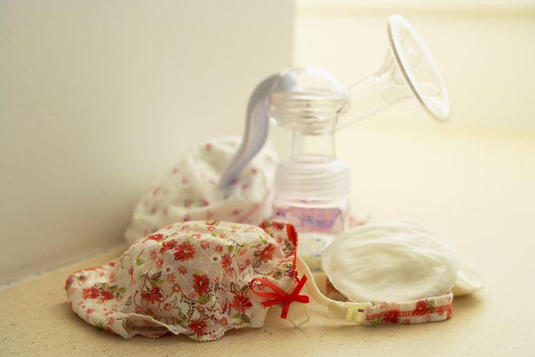 Breast pump next to nursing bra