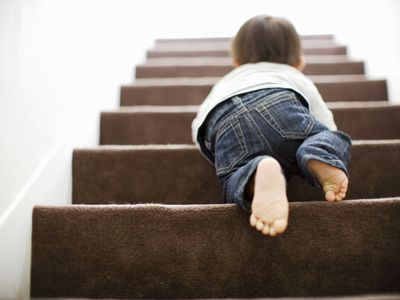 Baby walking up stairs