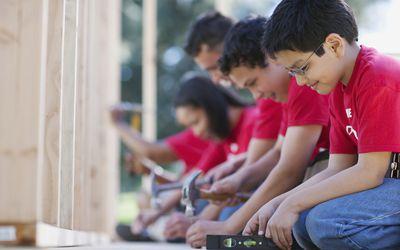 Volunteers building a home