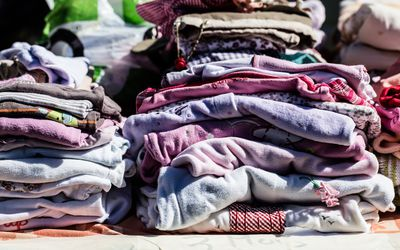 A pile of children's clothing.